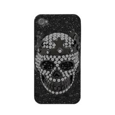 iPhone 4 case with gothic diamond skull with crown print on a black glitter background.  Cool phone for goths and teens and anyone who loves skulls and bling! $37.05