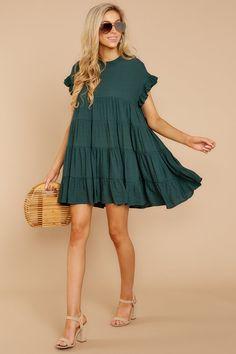 Adorable Green Babydoll Dress - Trendy Shift Dress - Dress - $44.00 – Red Dress Boutique