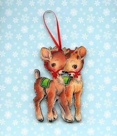Christmas Tree Ornament Cute Reindeer Deer Couple oooooo- I missed getting the last one