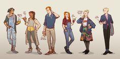 grown up harry potter kids w/coffee