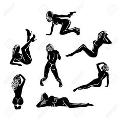 A set of seven black and white sexy silhouettes of naked girls. Woman Silhouette, Silhouette Art, Image Photography, Photography Poses, Happy Valentines Day Sign, Colourpop Eyeshadow, Woman Sketch, Posing Guide, Beautiful Mask