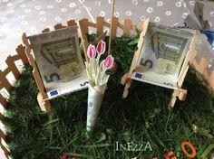 Geldgeschenk Gartenstühle Sonnenschirm Blumenvase Origamie Ente Schmetterling