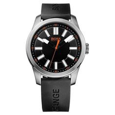 Black Dial With Orange Logo Men's Watch