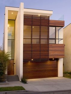 Exterior look wood slat sliding panel for front  balcony...
