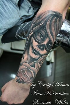Day of the dead tattoo sleeve: