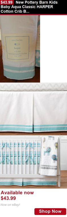 Cribskirts And Dust Ruffles: New Pottery Barn Kids Baby Aqua Classic Harper Cotton Crib Bed Skirt BUY IT NOW ONLY: $43.99
