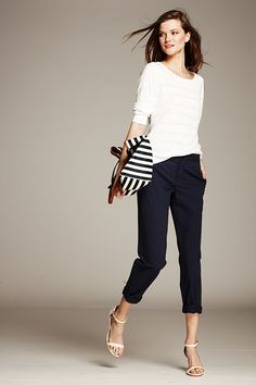 Textured Stripe Crew Top | Banana Republic California Collection