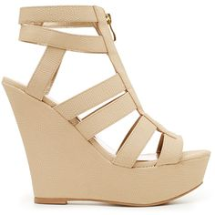 2b bebe Stacy Wedges ($35) ❤ liked on Polyvore featuring shoes, heels, wedges, zapatos, chaussures, cognac, cognac shoes, zipper shoes, platform wedge shoes and sexy platform shoes