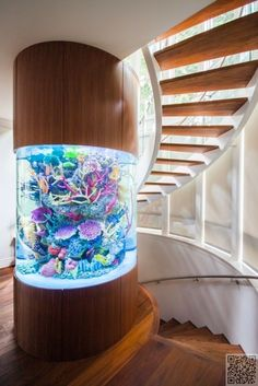 34. #Stairwell - 46 Inspiring Fish #Tanks for the Aquatic #Lover in You ... → #Lifestyle #Gumball