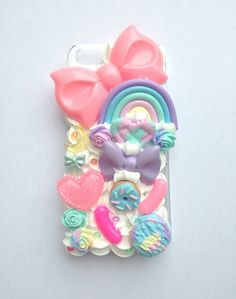 Kawaii Pastel Rainbow Decoden Moon FairyKei Bow Doughnut Handmade Clay Heart Whipped Cream iPhone 5 Cell Phone Case