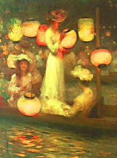 ☂ Paper Lanterns and Parasols ☂ Japonisme Art and Illustration - Percy W. Gibbs, detail