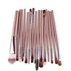 Internet 15 pcs/séries ombre à paupières Fondation Sourcils Lèvres Pinceau Maquillage Pinceaux Outil Or: Tweet La trousse de maquillage…