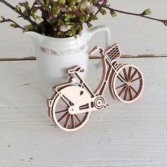 3-D Graphic Design Beauty: ladies' bike  - wood motive - bicycle. lasercut.  by NOGALLERY in Germany