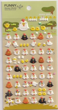 Kawaii Korean Super Cute Chicken Puffy Stickers - Perfect for scrapbooking, card-making, dairy, journaling, etc.. $2.85, via Etsy.