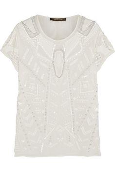 ROBERTO CAVALLI Embellished silk-chiffon top