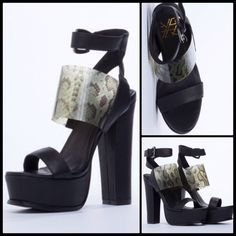 "Y.E.S.  Donna in Black/Clear Snake. NIB These are sick!! Super high.. But seriously comfortable and easy to walk in... Your mileage may vary  5 1/2"" heel, 2"" platform, leather uper, leather lining and man made sole. Fits true to size. BNIB. SIZE 9 Y.E.S. Shoes"