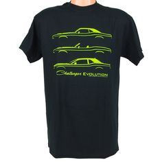 Dodge Challenger Evolution t shirt with silhouette lines of Challenger through the years screen printed in lime green on the front of a black 100% cotton t-shirt.