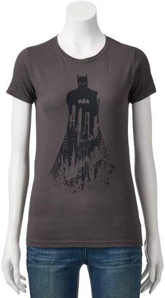 Bioworld Batman Juniors Girls Superhero Graphic T-Shirt Size XS Charcoal Heath