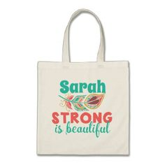 Personalized Strong is Beautiful Boho Tote Bag - personalize gift idea special custom diy or cyo