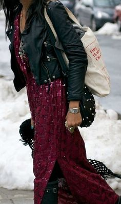 Edgy boho babe. Fitted leather teamed with a boho-luxe sequin maxi and biker boots.