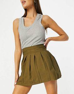 Pleated Tennis Skirt, Skater Skirt, Asos, Olive Style, Box Pleats, Olive Green, Preppy, Latest Trends, Mini Skirts
