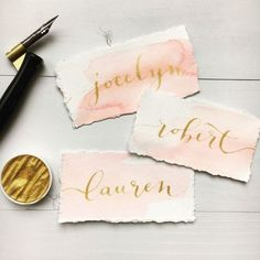 Calligraphy Place Cards Watercolor Name Cards by LoveSupplyCo – The Best Ideas Calligraphy Name, Wedding Calligraphy, Calligraphy Watercolor, Calligraphy Writing, Watercolor Wedding, Modern Calligraphy, Watercolor Paper, Wedding Stationary, Wedding Invitations