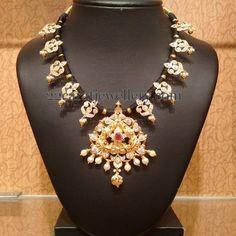 Jewellery Designs: Traditional CZ Necklace by Naj Jewellers