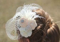 Rosette Ivory Veil Birdcage Veil Rosettes and by Made4YouBoutique, $45.00