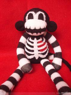 halloween sock monkeys | Stacey Jean | SM Macabre Monkey Skeleton - Halloween Sock Monkey 12 ...