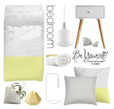 """""""Bedroom - Yellow Gray"""" by by-jwp ❤ liked on Polyvore featuring interior, interiors, interior design, home, home decor, interior decorating, Normann Copenhagen, Voluspa, Under the Canopy and Holly's House"""