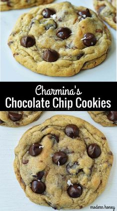 Charmina's Chewy Chocolate Chip Cookies made with melted butter, brown sugar, sugar, and two kinds of chocolate. A soft chewy chocolate chip cookie recipe. Classic Chocolate Chip Cookies Recipe, Chip Cookie Recipe, Chewy Chocolate Chip Cookies, Best Cookie Recipes, Best Dessert Recipes, Delicious Desserts, Chocolate Chips, Brunch Recipes, Yummy Food