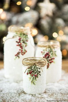 DIY Snowy Mason Jars – create faux snow-covered mason jar luminaries for the holiday season. bottle crafts with lights DIY Snowy Mason Jars Christmas Mason Jars, Noel Christmas, Diy Christmas Gifts, Christmas Projects, Christmas Decorations, Christmas Ornaments, Christmas Ideas, Candle Decorations, Christmas Cactus