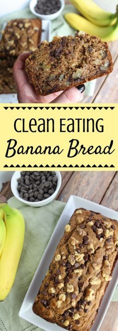 Eating Banana Bread is made with just a few simple, healthy ingredients. Clean Eating Banana Bread is made with just a few simple, healthy ingredients. Clean Eating Banana Bread is made with just a few simple, healthy ingredients. Healthy Fruit Desserts, Healthy Bread Recipes, Clean Eating Desserts, Clean Eating Breakfast, Healthy Foods To Eat, Gourmet Recipes, Eating Healthy, Budget Recipes, Healthy Brunch