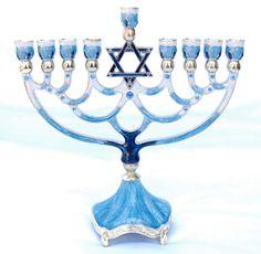 Enameled Jeweled Jewish Menorah Lamp Chanukah Hanukkah