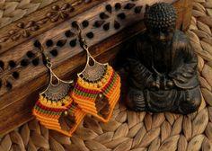 Macrame earrings tribal earrings boho bohemian hippie by QuetzArt Macrame Earrings, Tribal Earrings, Macrame Jewelry, Tribal Jewelry, Rustic Jewelry, Bohemian Jewelry, Micro Macramé, Spiritual Jewelry, Unique Gifts For Her