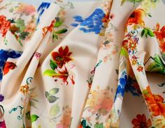 Pretty Floral Neoprene Knit - Multi on Pale Peach - Gorgeous FabricsGorgeous Fabrics