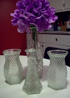Clear Glass Hobnail Vase Collection, Vintage Hoosier Glass and diamond cut bud vase collection of 4, wedding table centerpiece decor by UpcycledCottageDecor on Etsy