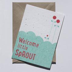WELCOME LITTLE SPROUT  #welkom #baby #kaart #zwanger #bloemen #kaart http://www.bewustgoed-winkel.nl/c-2525657/nikoniko/