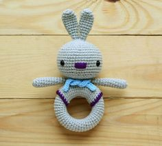 Bunny crochet toy rattle pattern