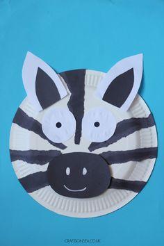 Zoo Animal Crafts, Zoo Crafts, Dinosaur Crafts, Ocean Crafts, Summer Crafts For Toddlers, Toddler Crafts, Zebra Craft, Paper Plate Jellyfish, Zebra Kids