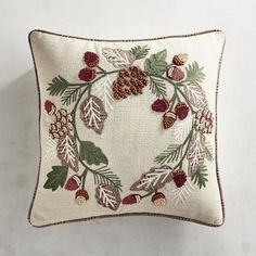 Like leaves changing colors, acorns and pinecones are beautiful symbols of fall. Our embroidered pillow celebrates both on a cotton/linen-blend cover set off with contrasting piping. Fall Pillows, Floral Pillows, Linen Pillows, Decorative Pillows, Cushions, Throw Pillows, Cushion Embroidery, Hand Embroidery, Acorn Wreath