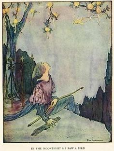 Olcott's Grimm's Fairy Tales (1927)  illustrated by Rie Cramer    In the moonlight he saw a bird