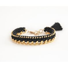 Black bracelet with chunky chain and beads, crochet bracelet with... ($17) ❤ liked on Polyvore featuring jewelry and bracelets