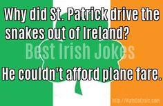 Best Short Jokes, Irish Jokes, Make You Smile, Trivia, Ireland, Funny Quotes, My Love, St Patrick, Day