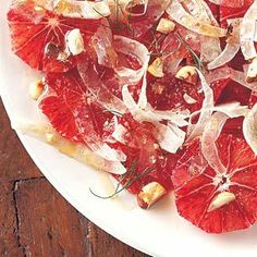 Blood Orange #Salad with Shaved Fennel and Hazelnuts