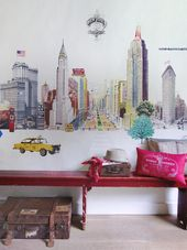Make a trip around the world with the new wallpaper collection from Room Seven. The innovative wallpaper collection called Travel Memories, takes you to different locations around the world. Kids Wall Murals, Murals For Kids, New York Wallpaper, Cool Wallpaper, Wallpaper Collection, Summer Deco, Teenage Room, Inspiration Wall, Travel Memories