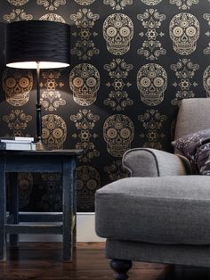Day of the Dead Wallpaper - Black and Gold | The Morbid Anatomy Museum Gift Shop