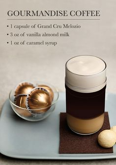 Experience three layers of Nespresso indulgence with this Gourmandise Coffee recipe. The enchanting blend of caramel, vanilla, and almond is sure to wow your taste buds. Blended Coffee Drinks, Espresso Drinks, Espresso Coffee, Nespresso Recipes, Homemade Iced Coffee, Liqueur, Coffee Type, Chocolates, Gourmet