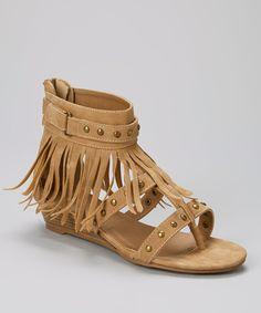 Another great find on #zulily! Camel Studded Fringe Nani Sandal by Bucco #zulilyfinds