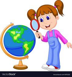 Illustration of Cartoon girl using magnifying glass looking at globe vector art, clipart and stock vectors. Matilda Roald Dahl, Globe Vector, Magnifying Glass, Flower Backgrounds, Science Activities, Classroom Themes, Kugel, Girl Cartoon, Vector Art